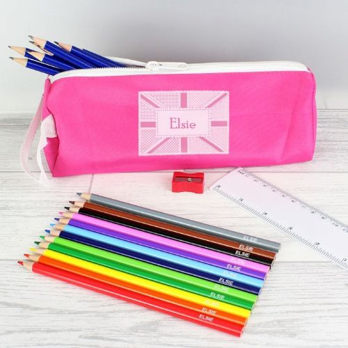 Pink Patchwork Union Jack Pencil Case & Personalised Contents